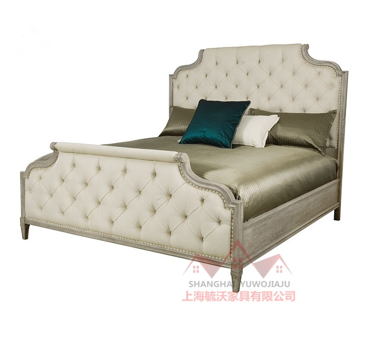 American country wood pulled high back double soft cloth new classic white princess wedding bed bedroom bed