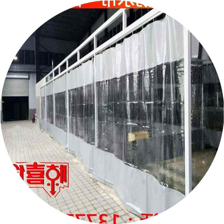 - kurtyna blokuje wiatr i przejrzystego podziału miękkie szkła w myjni zasłony nieruchomości z tworzywa sztucznego przesuwane drzwi
