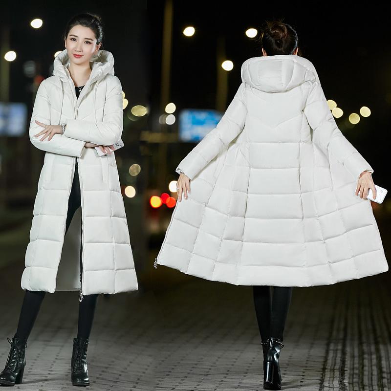 8161实拍2018冬季新款韩版修身加长款宽松大码羽绒棉服胖mm棉衣女