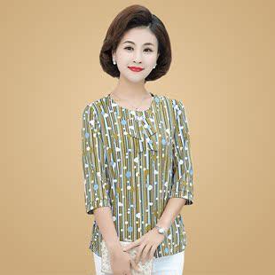 24妈妈七分袖大码T恤40岁50中老年女春装T恤衫中袖雪纺小衫上衣