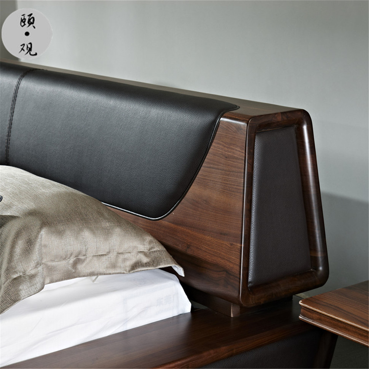 The North American black walnut wood tatami wood bed widened 1.8m simple main light luxury Nordic short bed spot