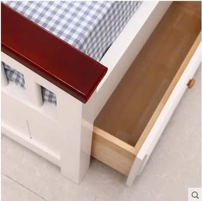 Solid wood bed double bed Princess Wedding bed children bed white pine wood 1.8 storage bed Mediterranean Shipping