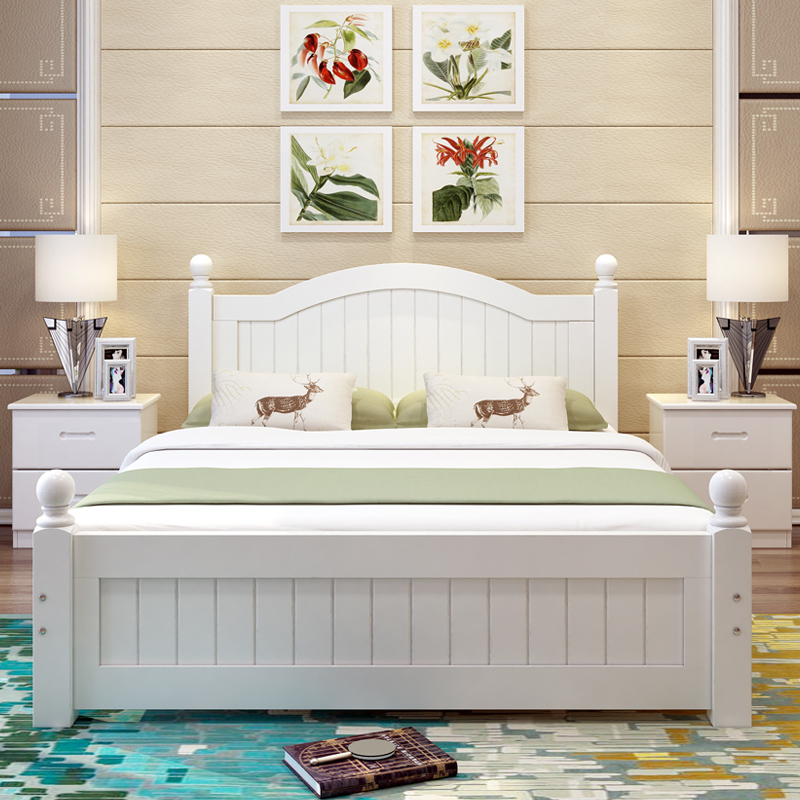 American all solid wood bed, double master bedroom princess bed, modern simple European style marriage bed, oak master bedroom, all solid wood bed