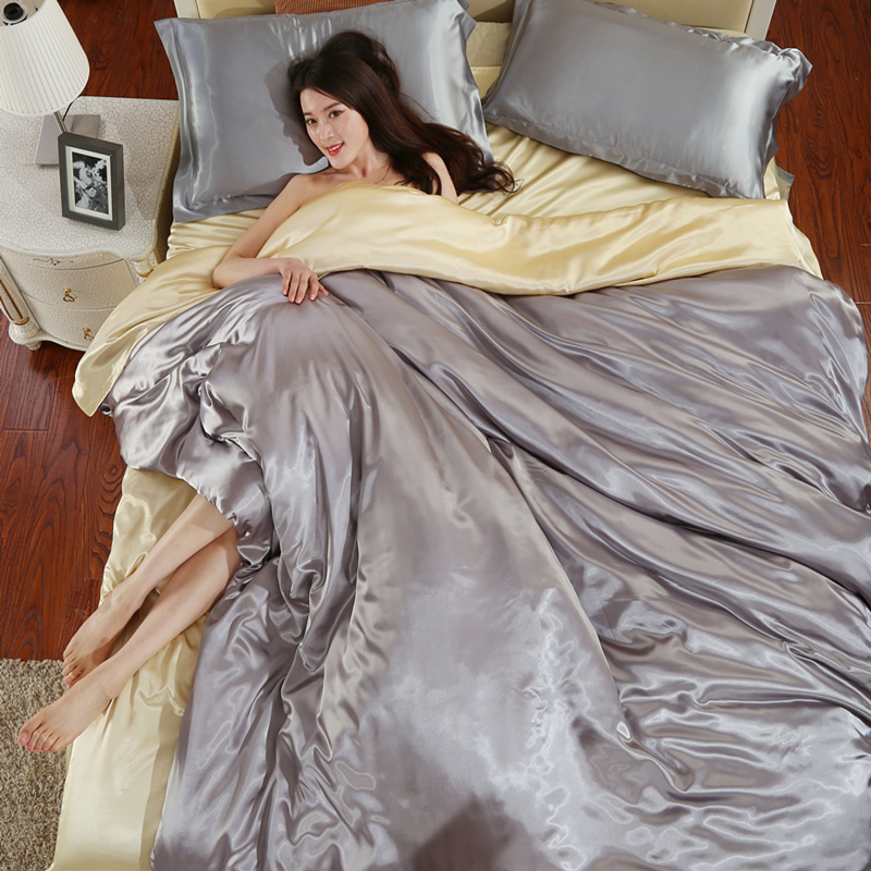 In the summer of four sets of 100 pure silk bedding silk satin fitted supplies