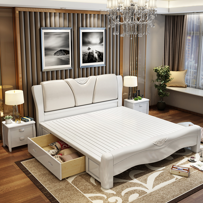 Modern Chinese master bedroom, solid wood double bed, 1.51.8 meters high box storage bed, oak bed, soft marriage bed C618