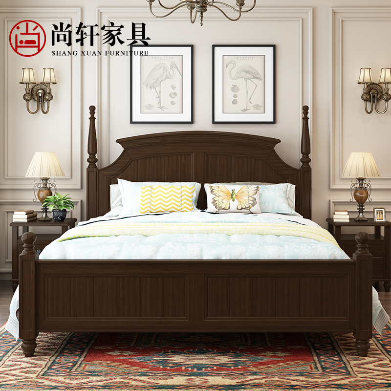 Double Zhuwo American solid wood furniture 1.5 simple European modern style Chinese village 1.8 meters economic bed apartment layout