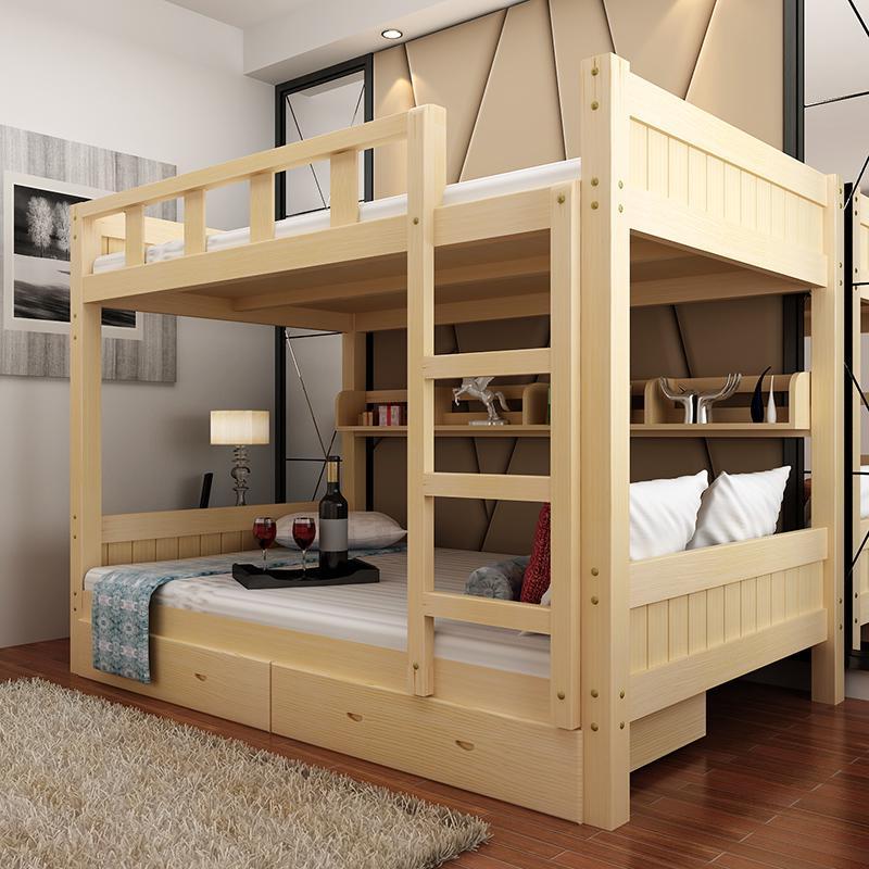 Все деревянные кровати взрослых детей матери и ребенка на двухъярусной кровати высота двухэтажный комплекс кровати Кровать 1,8 метров сосны 2 слой