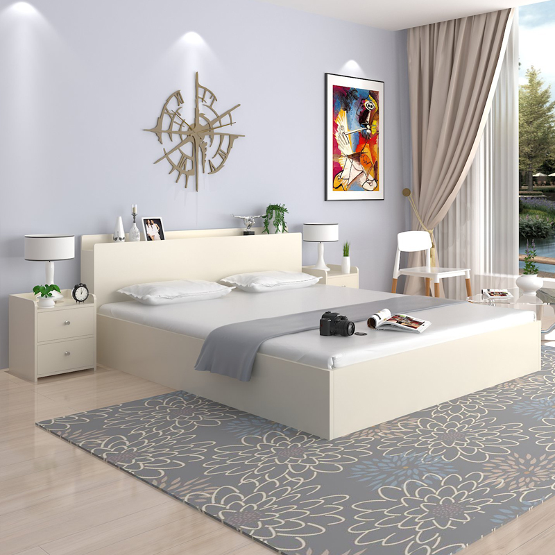 Simple modern 1.5 meters 1.8 meters double bed type bed Zhuwo economic high box containing tatami bed