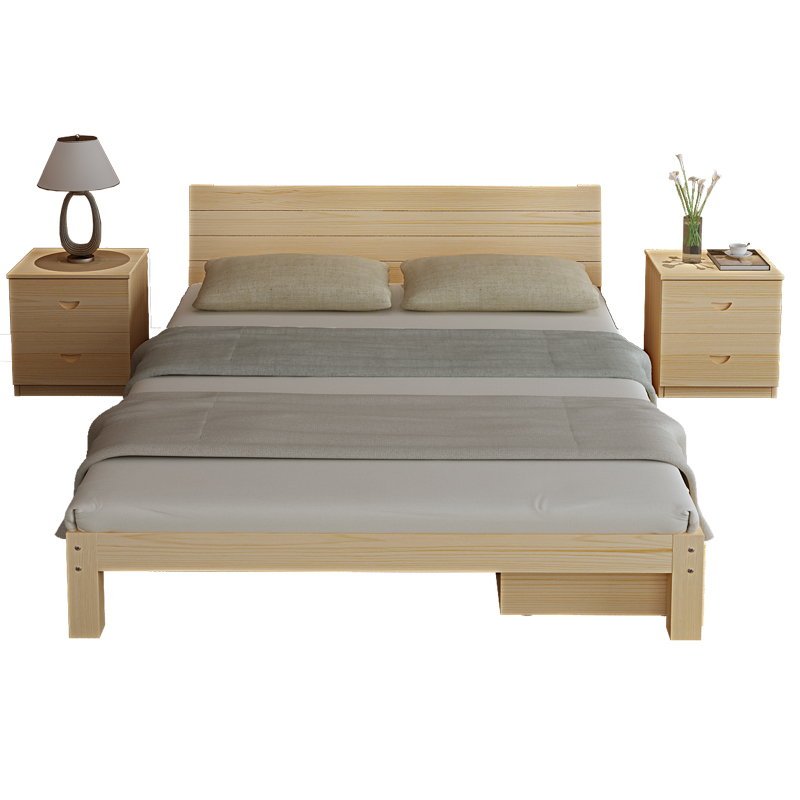 Mail solid bed double bed 1.8 meters, simple bed pine 1.5 meters, children's bed 1 meters, simple 1.2 meters single bed