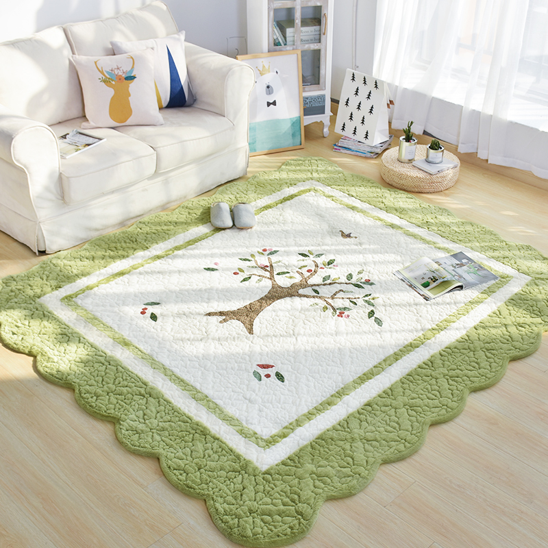 Korean thick short plush covered with embroidery carpet bedroom bedside table rectangular crawling pad tatami in South Korea