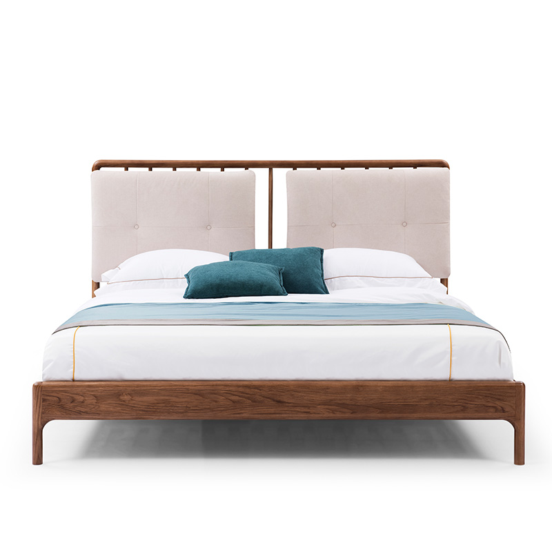 Nordic double solid wood bed, Japanese master bedroom, 1.8 meters, 1.5 meters, walnut fabric, soft by small family marriage bed