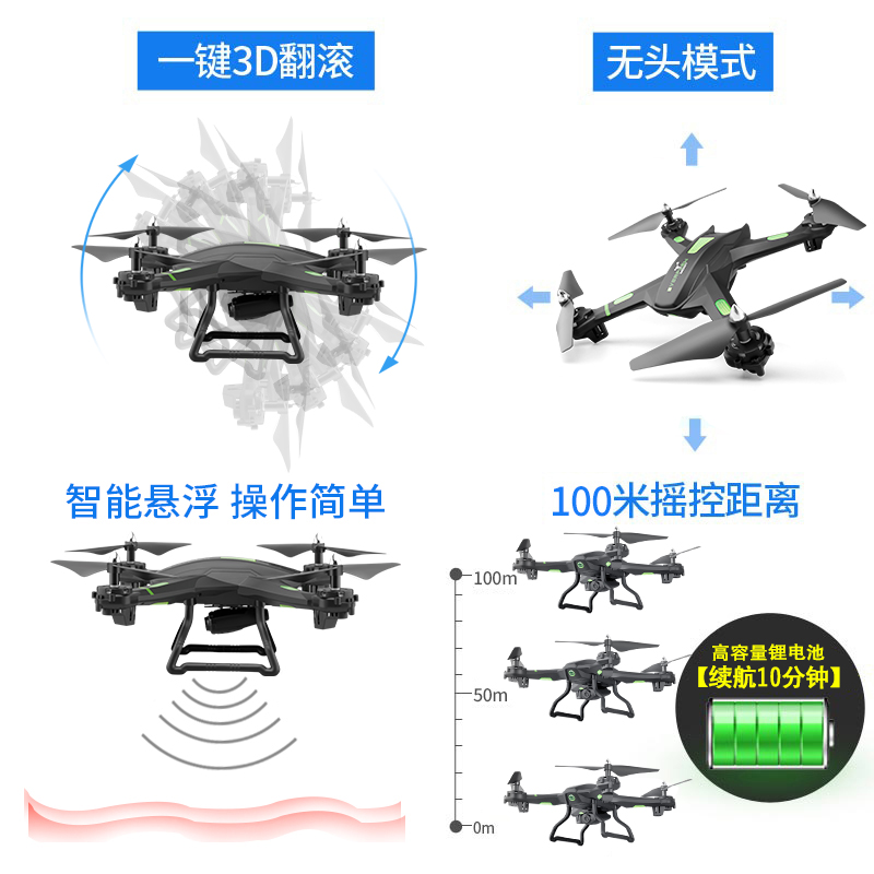[Fall-resistant aerial photography] UAV large remote control aircraft four-axis helicopter charging anti-collision children's toys