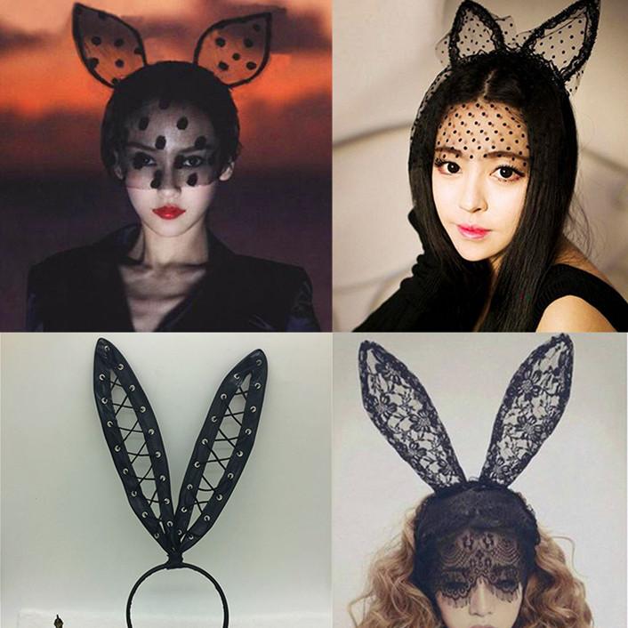 セクシーな情趣の下着の制服誘惑アクセサリーカチューシャレース眼帯ウサギの耳ベールの誘惑
