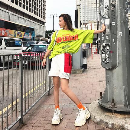 DOCTOR.M嘻哈复古阔腿短裤女夏季潮牌拼接INS宽松超短裤高腰热裤