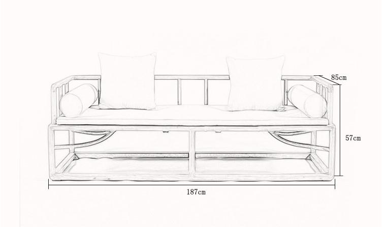 老楡羅漢ベッドシンプル現代中国式木造リビングソファベッドグループ禪の漆の茶屋がシンプルな家具