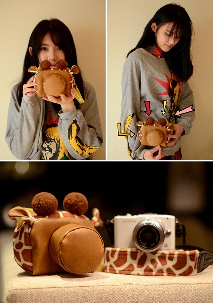 可爱长颈鹿单反相机包