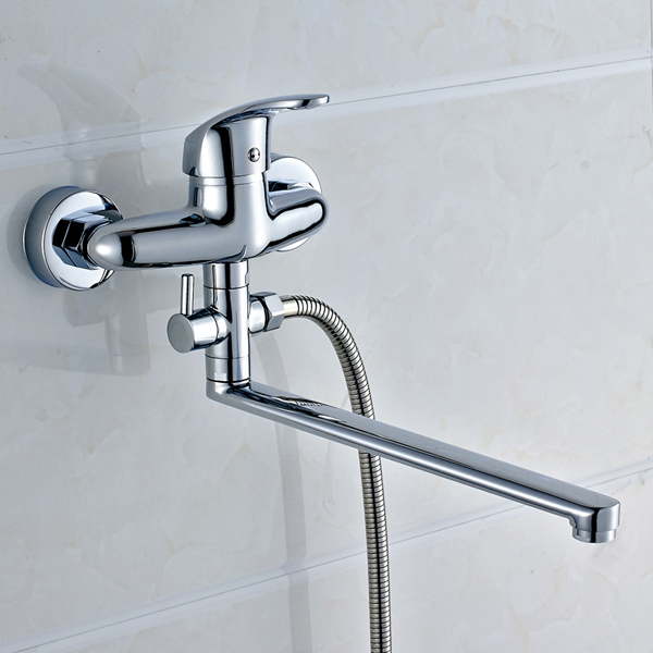 Cold and hot water mixing valve triple tap extension copper bathtub faucet shower faucet bathroom water heater flush