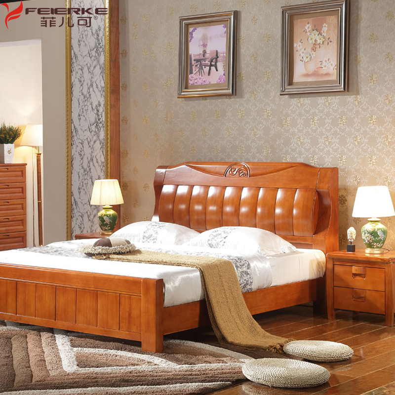 The whole Chinese wood bed double bed 1.8 meters high wooden storage box bed original brand oak wedding bed bag mail
