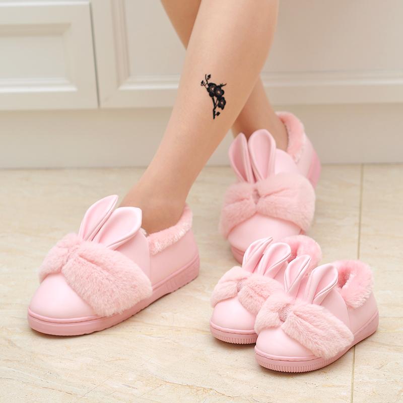 亲子棉拖鞋儿童包跟男女童小孩居家居毛毛保暖防水皮拖鞋可爱冬季