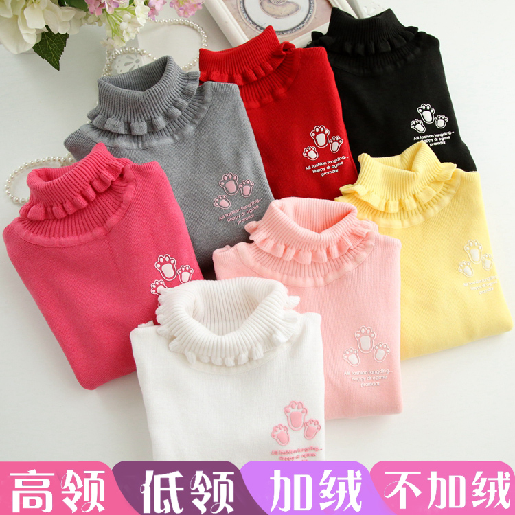 秋鼕款中小女童針織衫毛衣打底衫兒童裝寶寶女孩加絨套頭長袖T恤