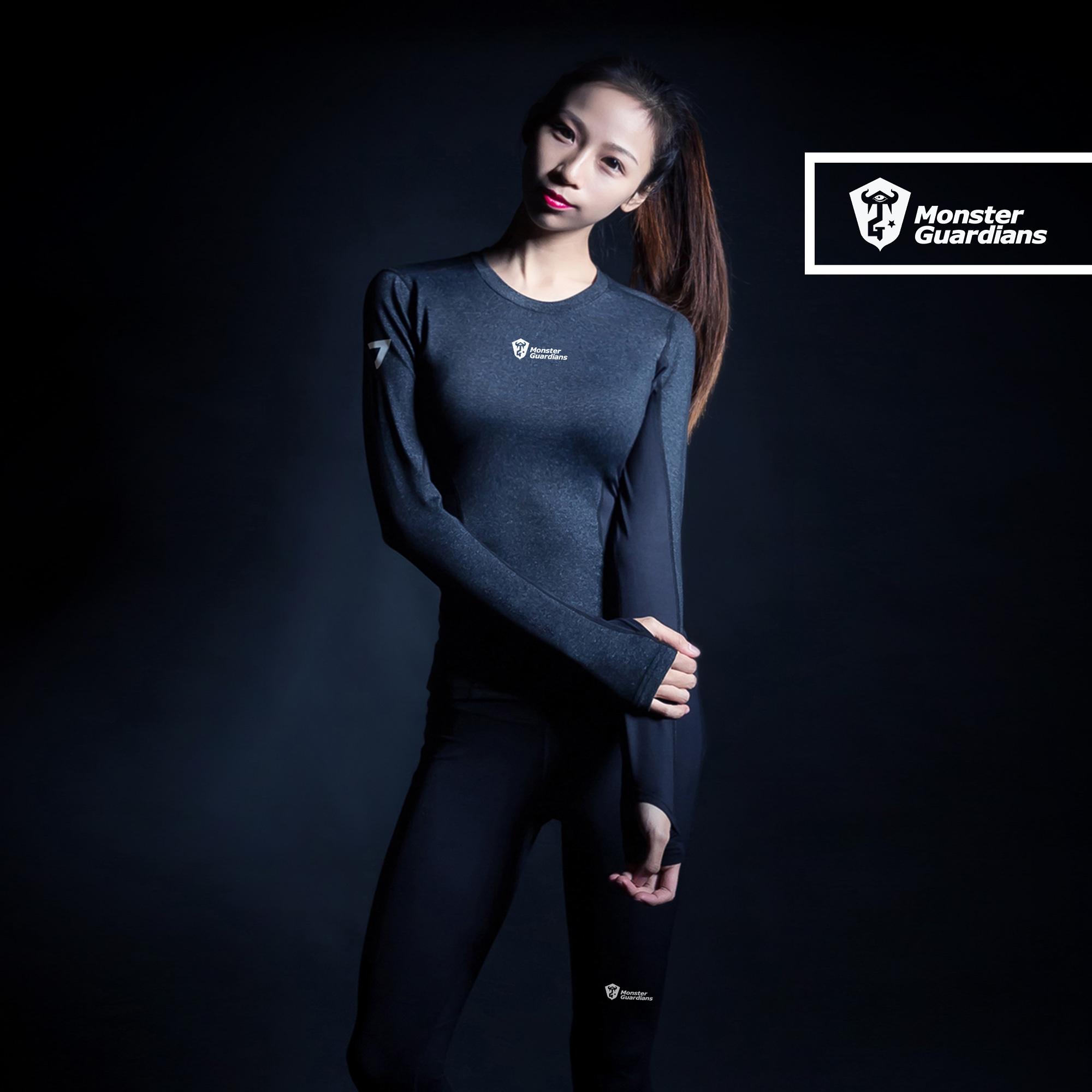 Serie de última tecnología a las mujeres MonsterGuardians ejercicio Slim de secado rápido de manga larga de mallas