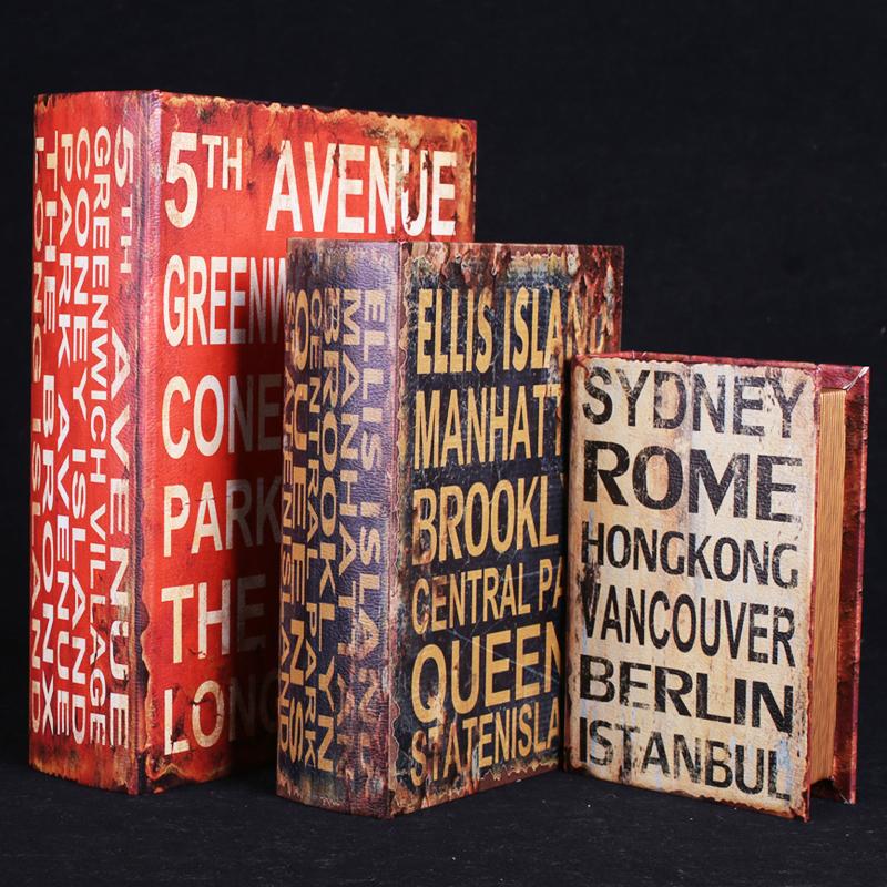 【字母】小號書盒米字旗仿真書復古歐式道具書木質假書歐式攝影道具裝飾書擺件