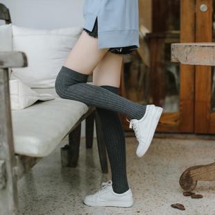 日系学院风过膝袜子女韩国学生长筒袜高筒薄款纯棉春秋季性感