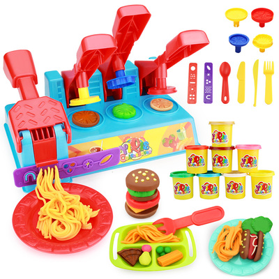 Non-toxic Clay Children 3D plasticine ice cream machine color clay mold tool puzzle burger male girl toy set