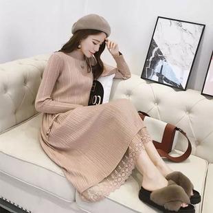 新款连衣裙韩版中长款洋气打底针织毛衣裙子
