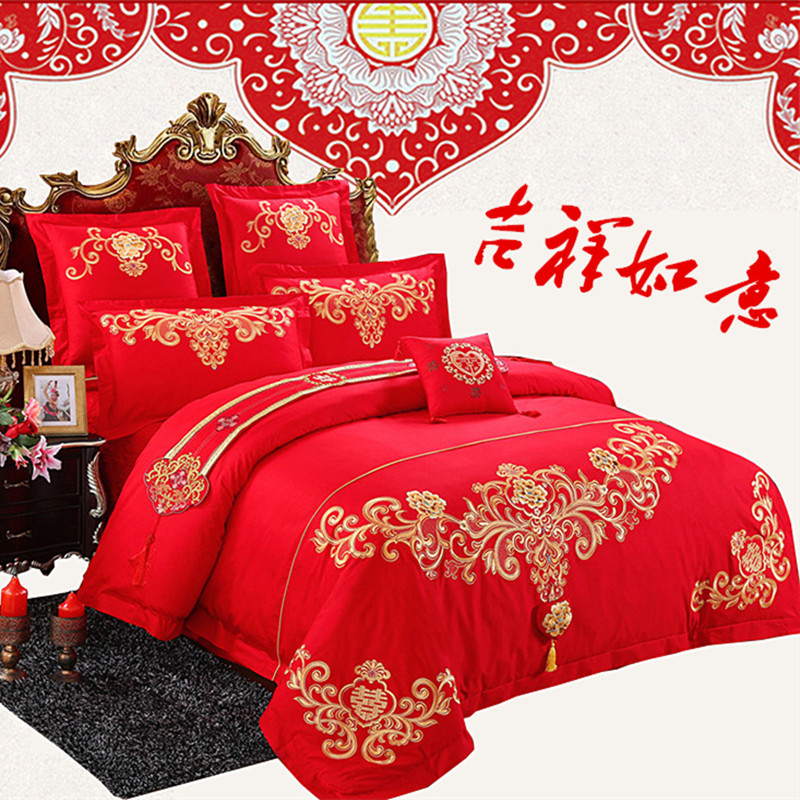 Non cotton bedding four piece and Cathy Satin Jacquard sheets fitted red festive wedding is a