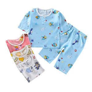 新款夏季儿童棉绸睡衣套装男童绵绸睡衣薄七分袖男女童空调家居服