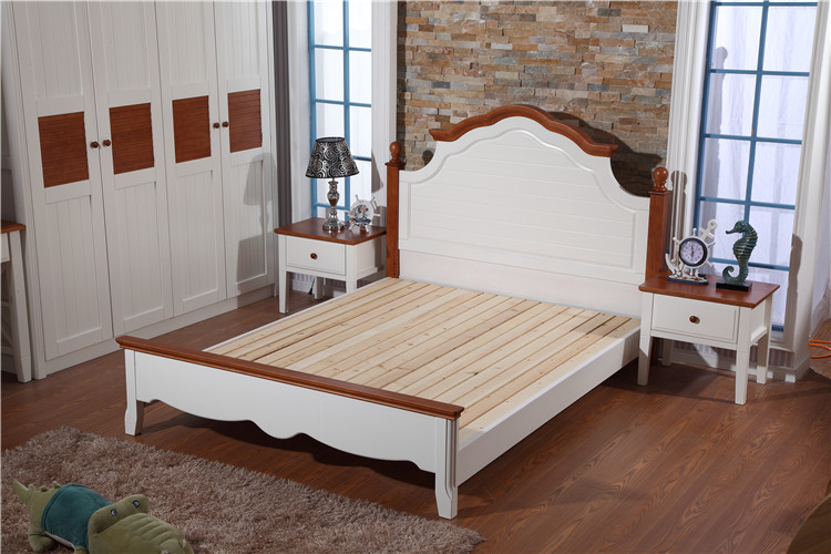Mediterranean bed, all solid wood bed, white New Zealand pine bed, children's bed, high box bed, 1.51.8 m double bed