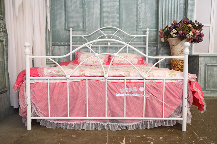 American country Vintage iron princess bed single bed double bed 1.5/1.8 m children green iron bed