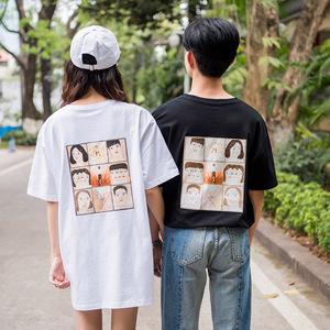 實拍3670#2018夏季新款韓版港風情侶裝寬松純棉T恤五分袖t恤 控45