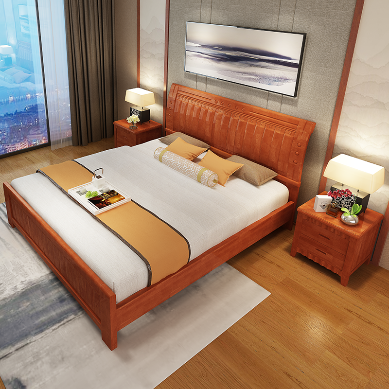 Nankang furniture solid wood bed 1.81.5 meters oak marriage bed double bed single bed outlet bed in Chinese style