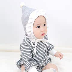 韩国婴儿帽子秋冬加绒厚公主可爱男女宝宝护耳帽超萌花边造型帽