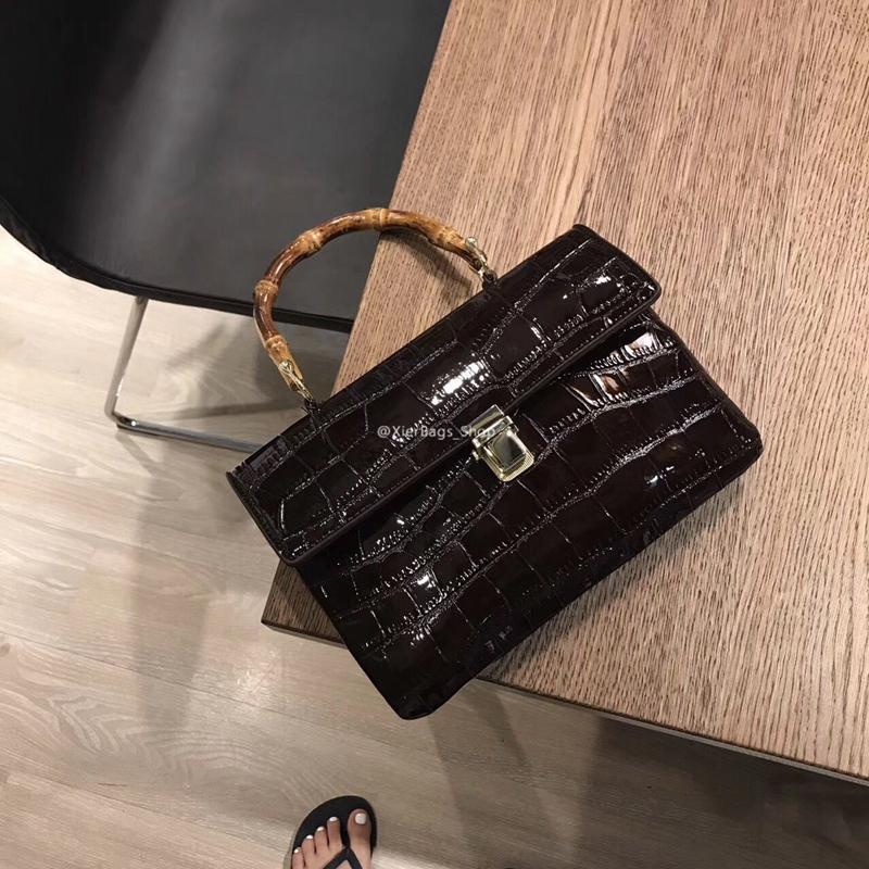 复古竹节包女式包包2017新款时尚手拎包女士手提包手拿鳄鱼纹女包