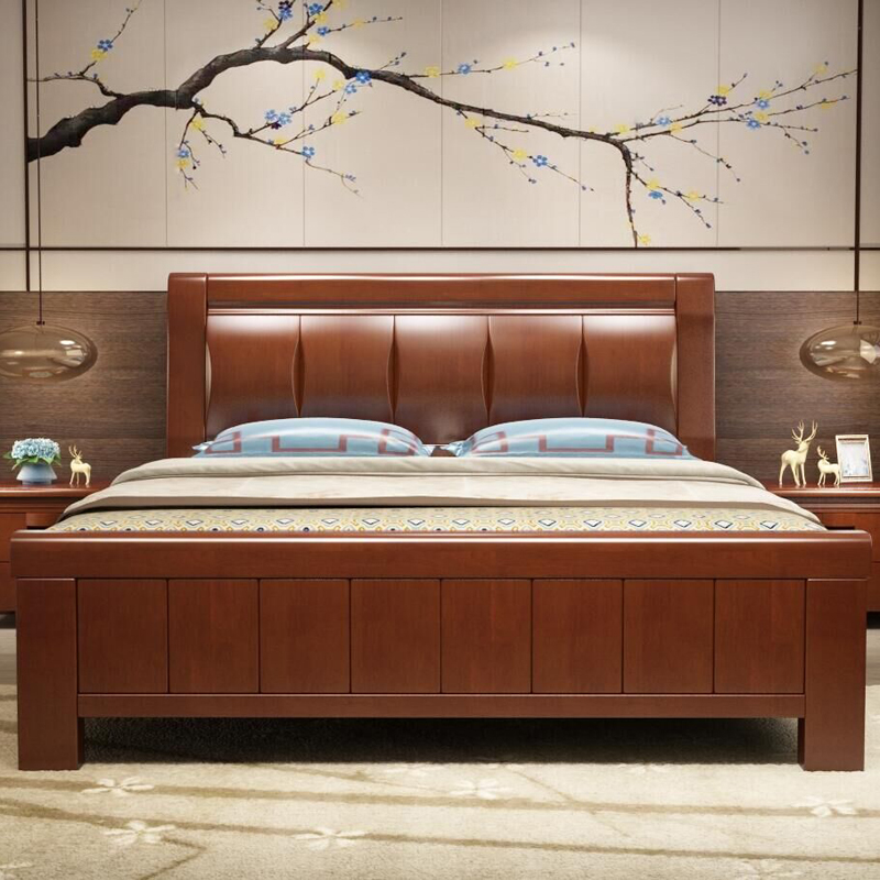 Modern Chinese style bedroom Iommi 1.5m oak wood bed bed double bed bed furniture 1.8