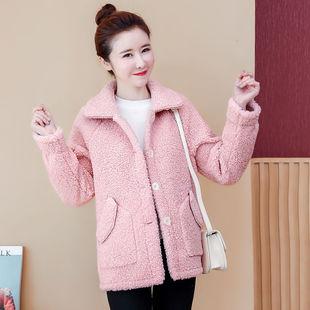羊羔毛外套女2019秋冬新款仿皮毛一体韩版宽松小个子加厚短颗粒绒