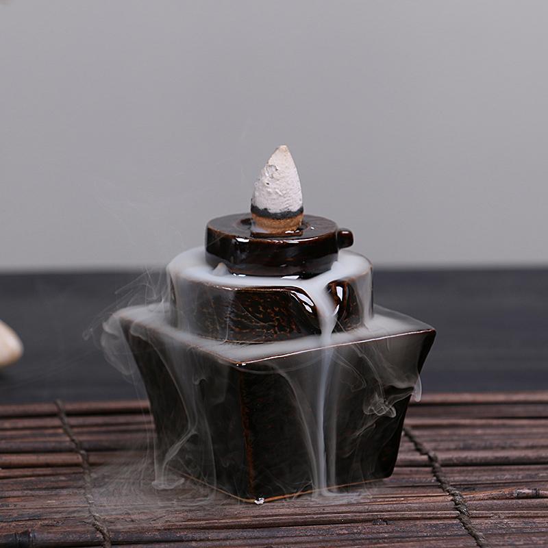 вспять кадило творческих украшения сандалового дерева печи керамическая горелка Садо благовония, старинные спальни с алой аромат место Будды