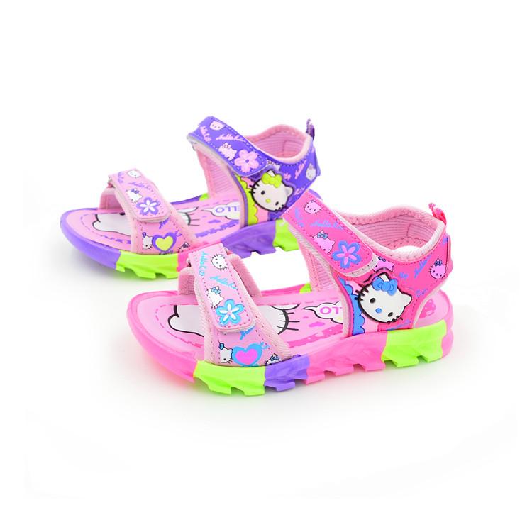 【天天特价】夏季儿童凉鞋女童鞋女童凉鞋萌KT韩版公主沙滩鞋学生