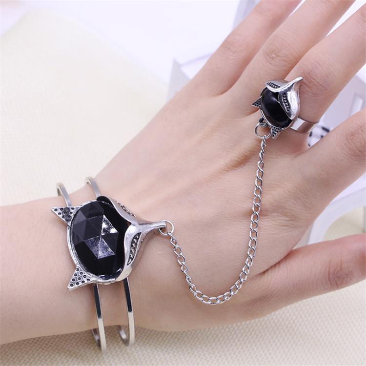 復古民族風誘惑九尾狐戒指流蘇手鏈 日韓版簡約可愛小動物手飾