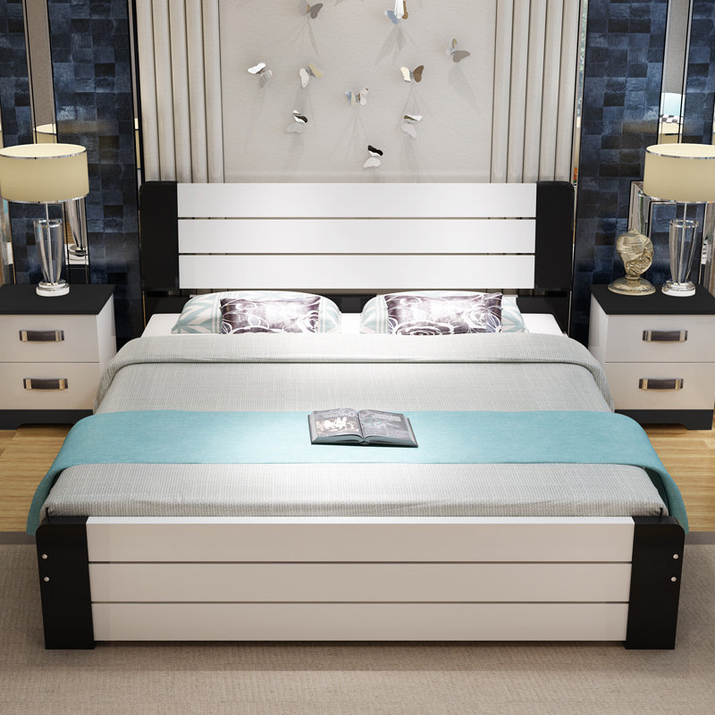 Simple modern wood bed, pine 1.8 meters double bed, 1.5m single bed, economy type 1.2 children's bed master bedroom