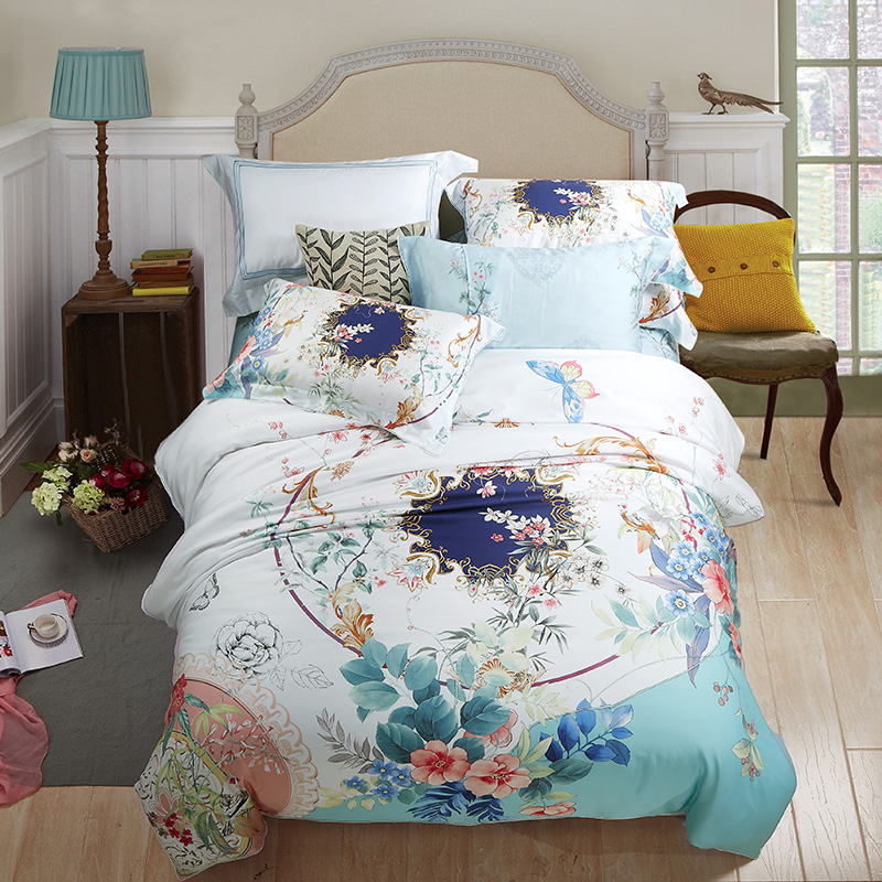 The new spring and summer 2017 four sets of 60 Tencel linen quilt bedding double printing quilt 1.8m increase