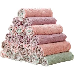 居家家不掉毛吸水洗碗布5条装 厨房加厚清洁毛巾擦手巾不沾油抹布