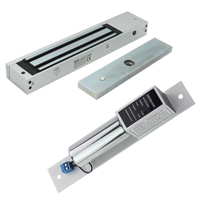 Electronic door guard system includes glass door, iron door swipe card, magnetic lock, electric plug lock, 12V double door access control machine