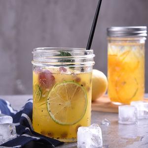 梅森瓶罐子公鸡杯带盖玻璃水杯密封瓶冷饮杯罐吸管奶昔果汁饮料杯