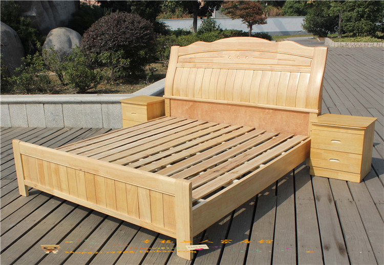 Solid wood bed 1.8 meters Chinese style full solid oak bed 1.5 meters 905 modern Thailand oak double bed head cabinet