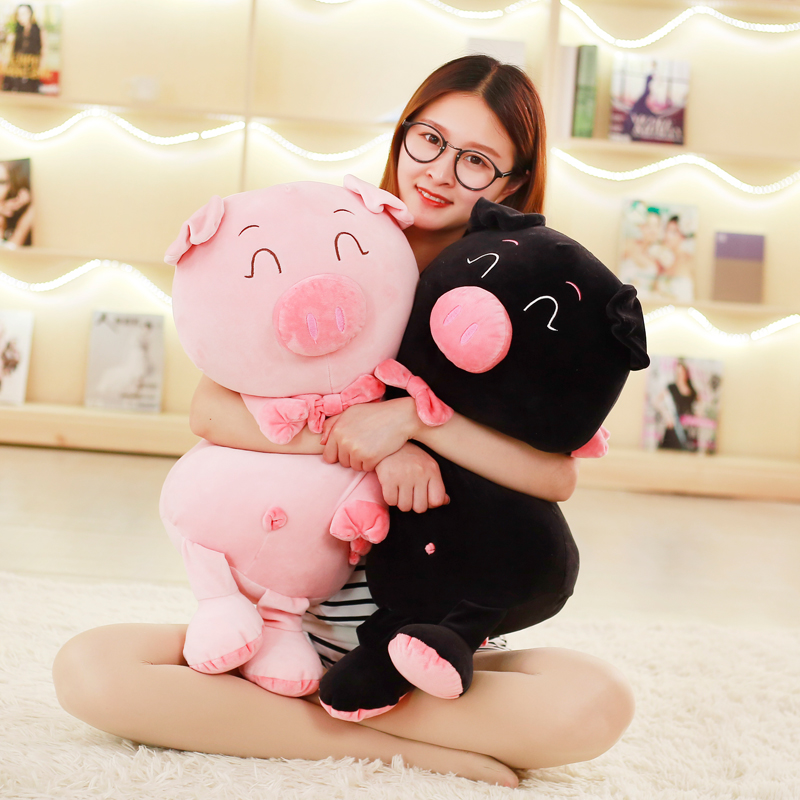 Happy couples cotton black pig pig pig doll plush toy doll doll loose feather pillow