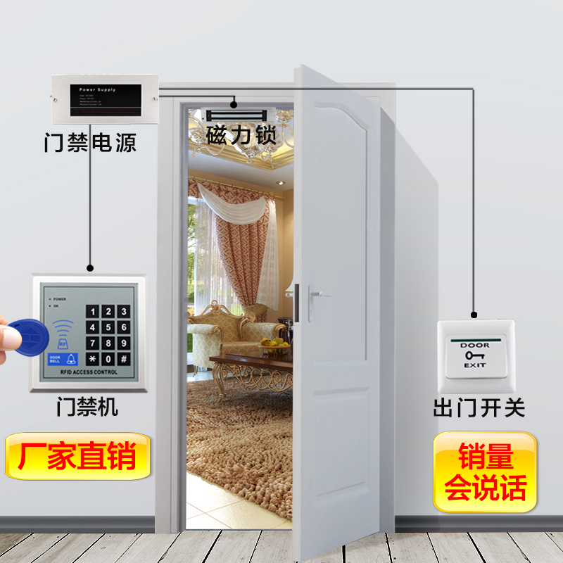 Electronic access control system, card password, glass door, iron door, magnetic lock, electric lock, double door access control machine